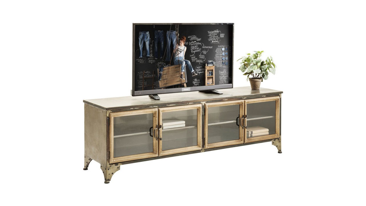 achetez votre meuble tv en bois et fer 4 portes kontor. Black Bedroom Furniture Sets. Home Design Ideas