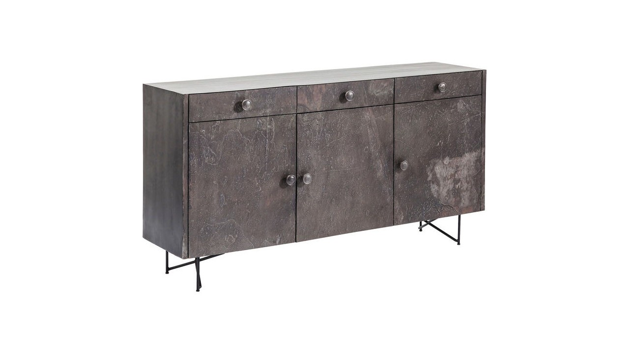 achetez votre buffet 3 portes industriel fer vieilli quarry kare design pas cher sur loft. Black Bedroom Furniture Sets. Home Design Ideas
