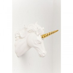 TETE DECORATIVE LICORNE BLANCHE ET OR UNICORN KARE DESIGN