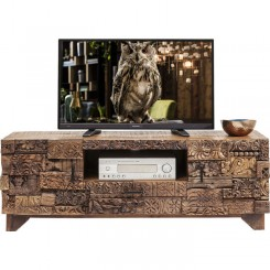 MEUBLE TV 2 PORTES PATCHWORK DE BOIS SURPRISE NATURE KARE DESIGN