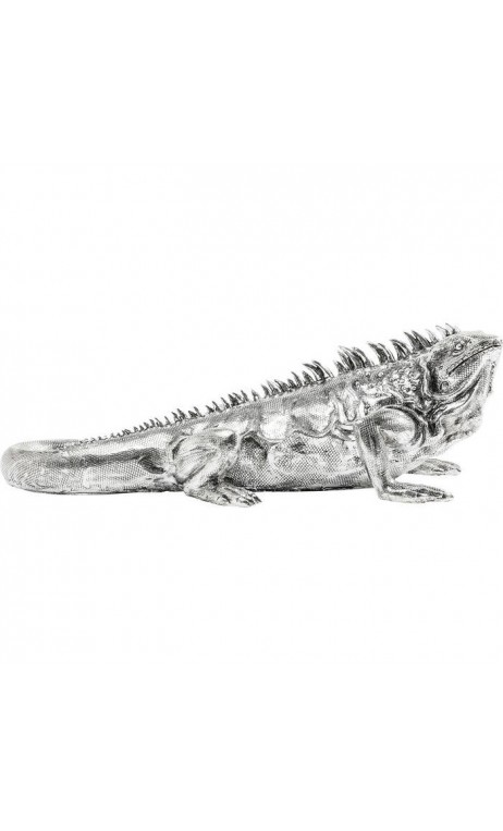 STATUETTE DECORATIVE IGUANE CHROMEE REPTIL KARE DESIGN