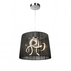 Suspension chrome et abat jour noir ORGANZA