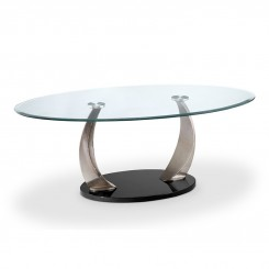 TABLE BASSE CHROMEE PLATEAU OVALE CROWN