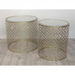 SET DE 2 TABLES D'APPOINTS CAGE DOREE ARABESQUE