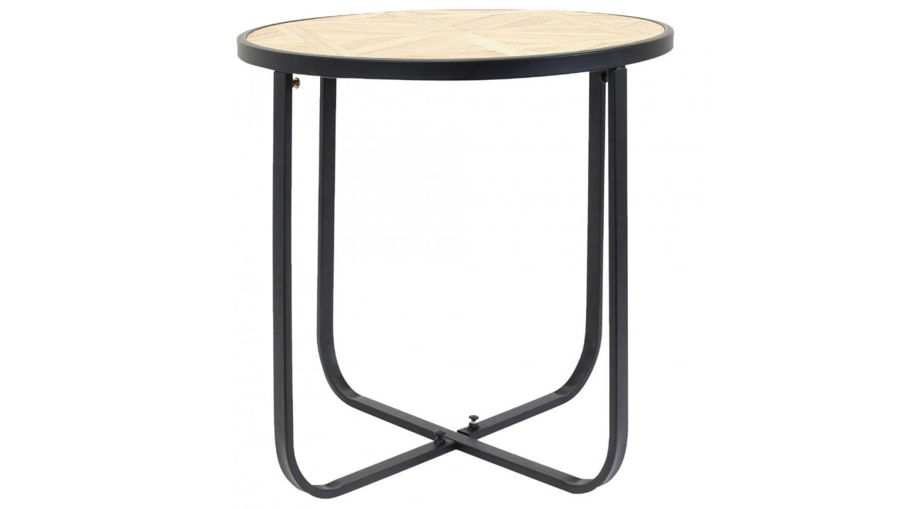 Table basse design ronde bois et acier for Table basse design ronde
