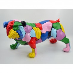 CHIEN BOULEDOGUE ANGLAIS MULTICOLORES FUNNY