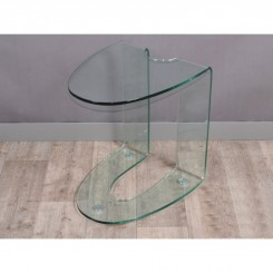 TABLE D'APPOINT DESIGN VERRE TRANSPARENTE 50 CM