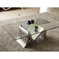 TABLE BASSE DESIGN VERRE ET METAL MOUNTAIN