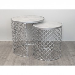 SET DE 2 TABLES D'APPOINTS CAGE CHROME ARABESQUE