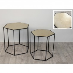 SET DE 2 TABLES D'APPOINTS NOIR ET OR ARABESQUE