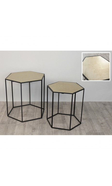 achetez votre set de 2 tables d 39 appoints noir et or riad pas cher sur loft. Black Bedroom Furniture Sets. Home Design Ideas