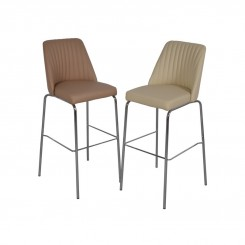 SET DE 2 TABOURETS DE BAR SIMILI CUIR ET CHROME HAPPY