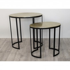 Set de 2 Tables d'appoints noir et or RIAD