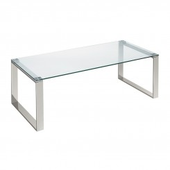 TABLE BASSE DESIGN 120 CM VERRE ET CHROME MOUSCRON