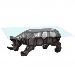 TABLE BASSE DESIGN RHINOCEROS NOIR ILLUSION