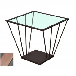BOUT DE CANAPE METAL MARRON ET VERRE SIGNATURE DREAM LOFT
