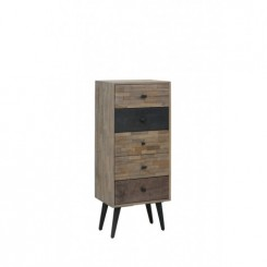 CABINET 5 TIROIRS EN BOIS PATINE MULTICOLORE BARICO LIGHT AND LIVING