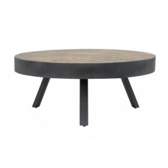 TABLE BASSE STYLE INDUSTRIEL PLATEAU ROND MAUCO LIGHT AND LIVING