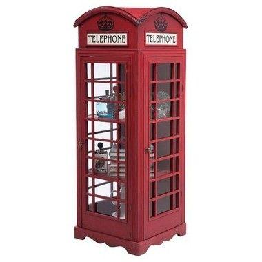 Armoire design cabine téléphonique anglais rouge