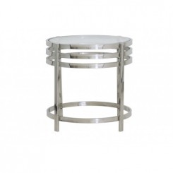 TABLE D'APPOINT DESIGN VERRE ET CHROME ANGOL LIGHT AND LIVING