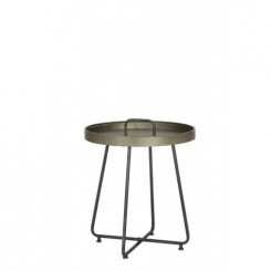 TABLE D'APPOINT STYLE PLATEAU BRONZE AVEC POIGNEE FARSO LIGHT AND LIVING