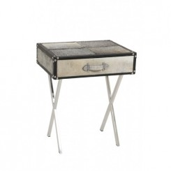 TABLE D'APPOINT TIROIR PIEDS CHROMES RICERCA LIGHT AND LIVING