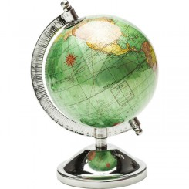 Globe terrestre design vert et chrome GLISTER