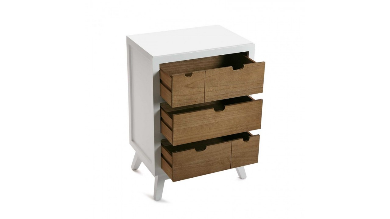 achetez votre commode basse en bois blanc 3 tiroirs najac. Black Bedroom Furniture Sets. Home Design Ideas