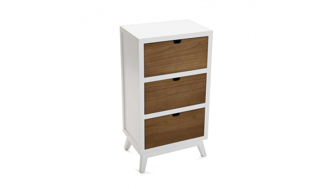 achetez votre commode en bois blanc 3 tiroirs najac pas. Black Bedroom Furniture Sets. Home Design Ideas