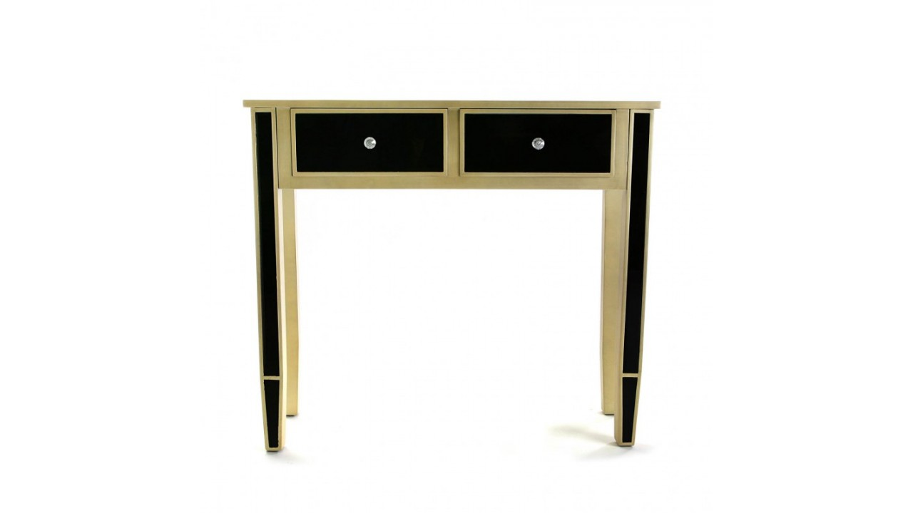 achetez votre console design bois noir et or 2 tiroirs var. Black Bedroom Furniture Sets. Home Design Ideas
