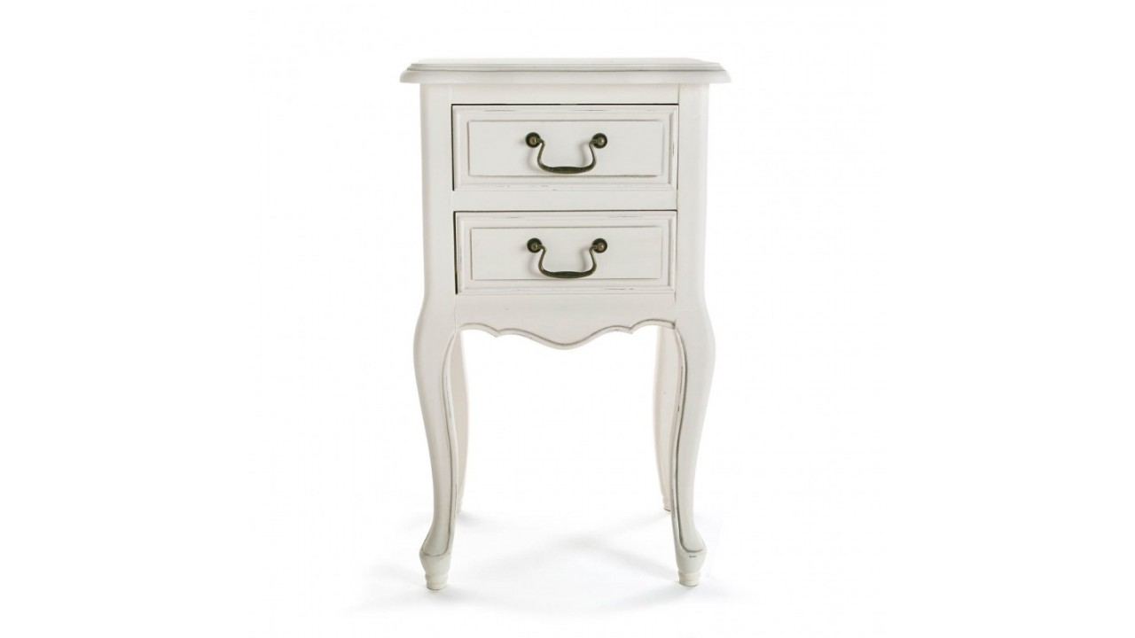 achetez votre table de chevet 2 tiroirs bois blanc nantes. Black Bedroom Furniture Sets. Home Design Ideas