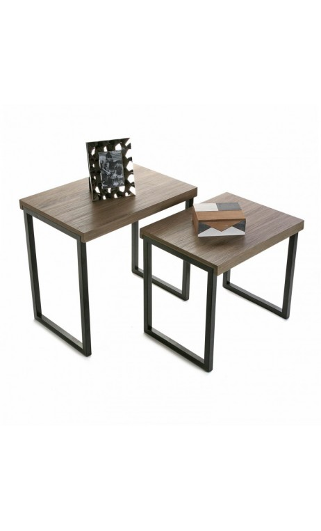achetez votre set de 2 tables d 39 appoints plateau bois. Black Bedroom Furniture Sets. Home Design Ideas
