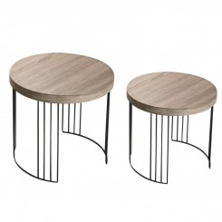 SET DE 2 TABLES D'APPOINTS PLATEAU BOIS KANSAS VERSA