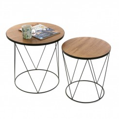 SET DE 2 TABLES D'APPOINTS PLATEAU BOIS BLACKWIRE VERSA