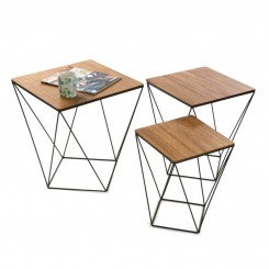SET DE 3 TABLES D'APPOINTS PLATEAU BOIS BLACKWIRE VERSA