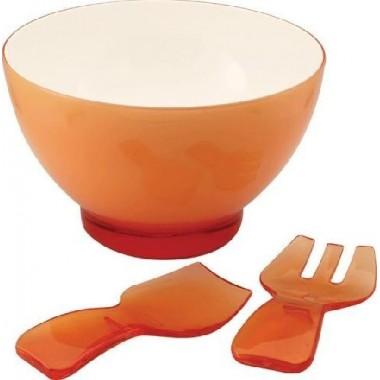Saladier orange acrylique avec couvert