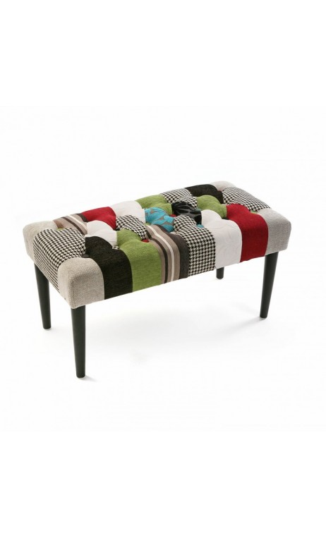 achetez votre banc patchwork en tissu multicolore patchw pas cher sur loft attitude. Black Bedroom Furniture Sets. Home Design Ideas