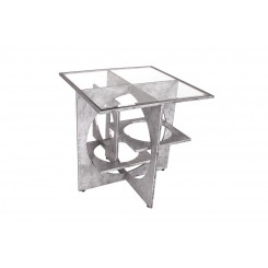 TABLE D'APPOINT INDUSTRIELLE ACIER GEOMETRIE