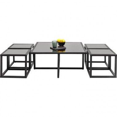 TABLE BASSE DESIGN NOIR + 4 TABLES D'APPOINTS QUAD