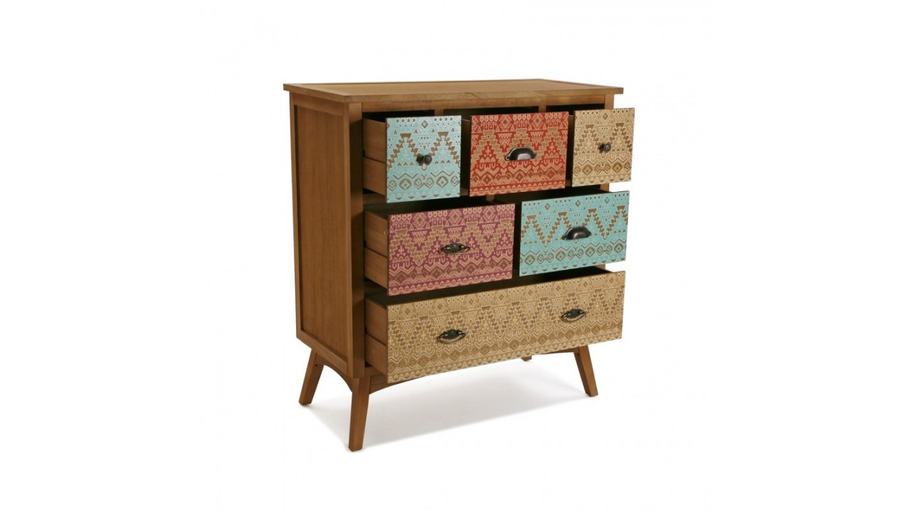 achetez votre commode 6 tiroirs multicolores shikar pas cher chez loft attitude. Black Bedroom Furniture Sets. Home Design Ideas