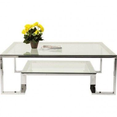 TABLE BASSE 120 CM VERRE ET CHROME RUSH KARE DESIGN