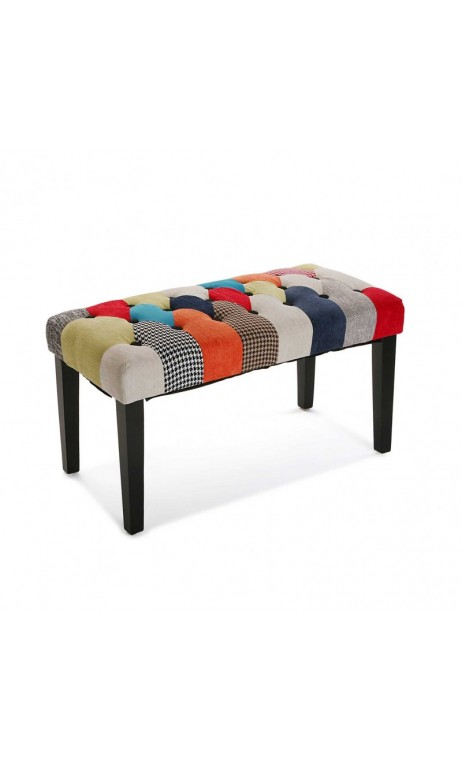 achetez votre banc en tissu multicolore rouge patchwork. Black Bedroom Furniture Sets. Home Design Ideas
