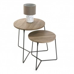SET DE 2 TABLES D'APPOINTS PLATEAU BOIS FRESNO VERSA