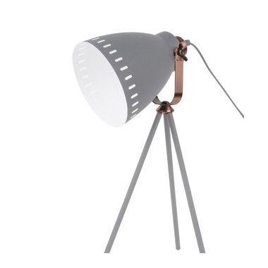 Lampe de table abat jour GRIS et cuivre MINGLE