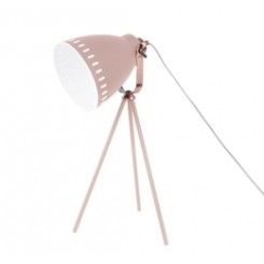 Lampe de table abat jour rose et cuivre MINGLE