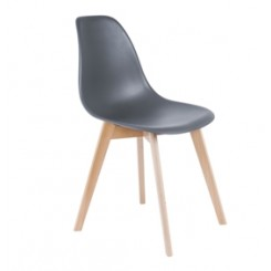 CHAISE SCANDINAVE GRISE ET EFFET BOIS ELEMENTARY PRESENT TIME