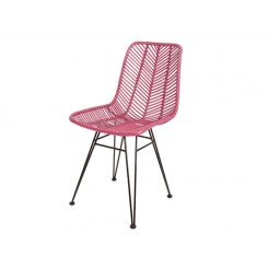CHAISE EN ROTIN ROSE ET METAL COSY PRESENT TIME