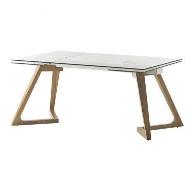 TABLE A MANGER 160-240 CM BOIS ET VERRE GATE CAMINO A CASA