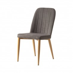 Chaise tissu GRIS pieds bois HOLYWOOD