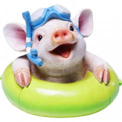 TIRELIRE COCHON BOUEE VERTE FLOATING KARE DESIGN